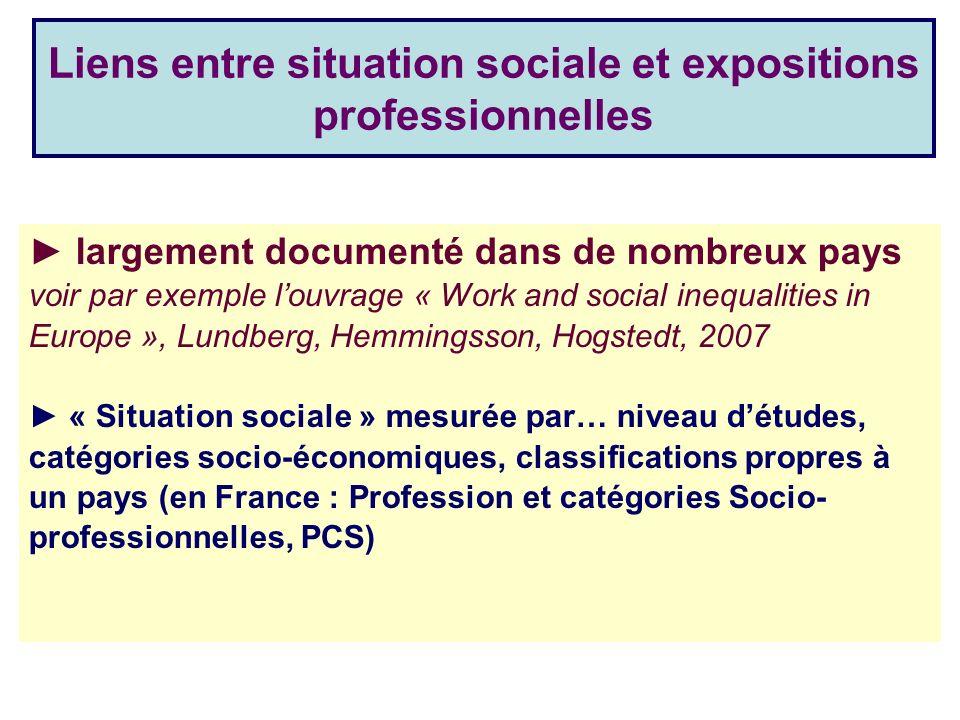 Liens entre situation sociale et expositions professionnelles
