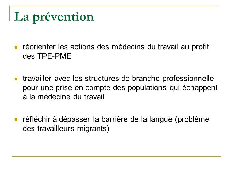 La prévention réorienter les actions des médecins du travail au profit des TPE-PME.