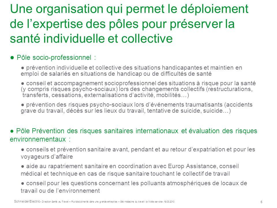 Une organisation qui permet le déploiement de l'expertise des pôles pour préserver la santé individuelle et collective