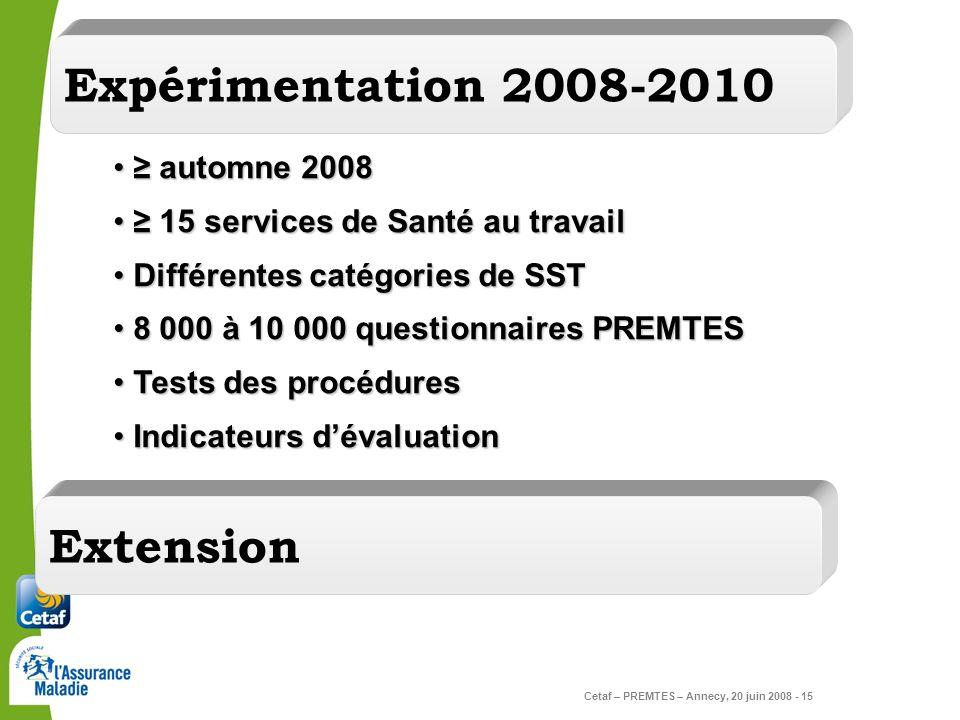 Expérimentation 2008-2010 Extension ≥ automne 2008