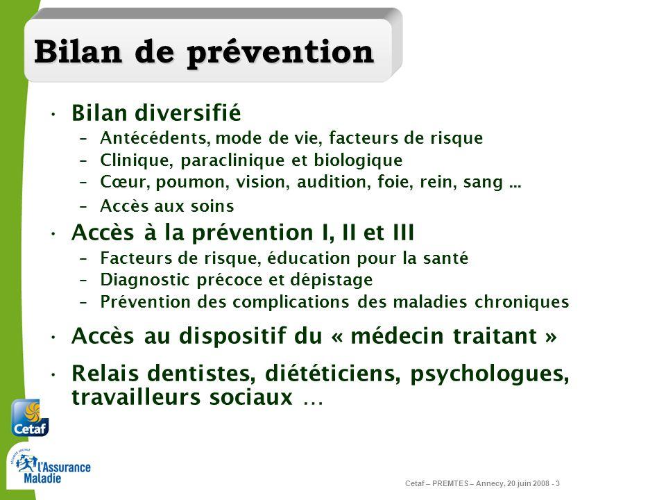 Bilan de prévention Bilan diversifié