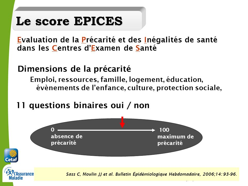 Le score EPICES Dimensions de la précarité