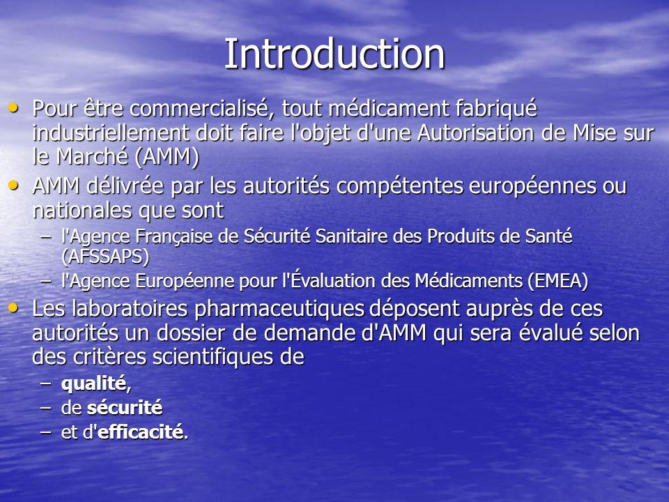 Introduction Pour être commercialisé, tout médicament fabriqué industriellement doit faire l objet d une Autorisation de Mise sur le Marché (AMM)