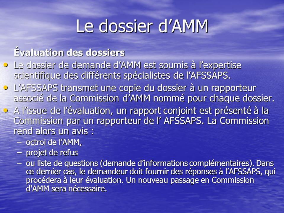 Le dossier d'AMM Évaluation des dossiers