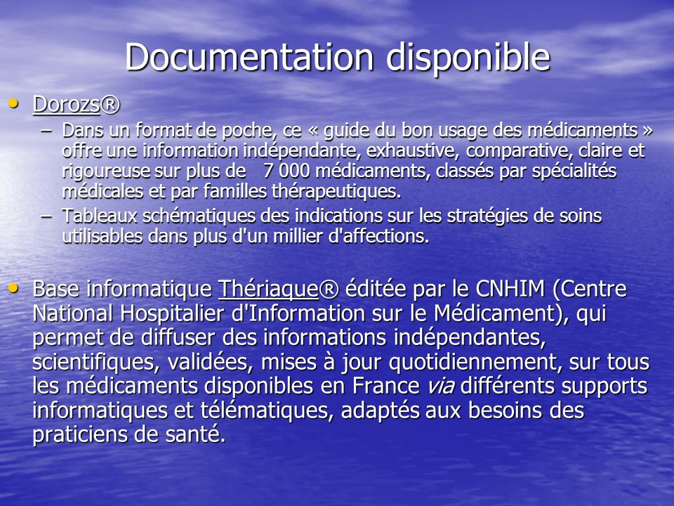 Documentation disponible