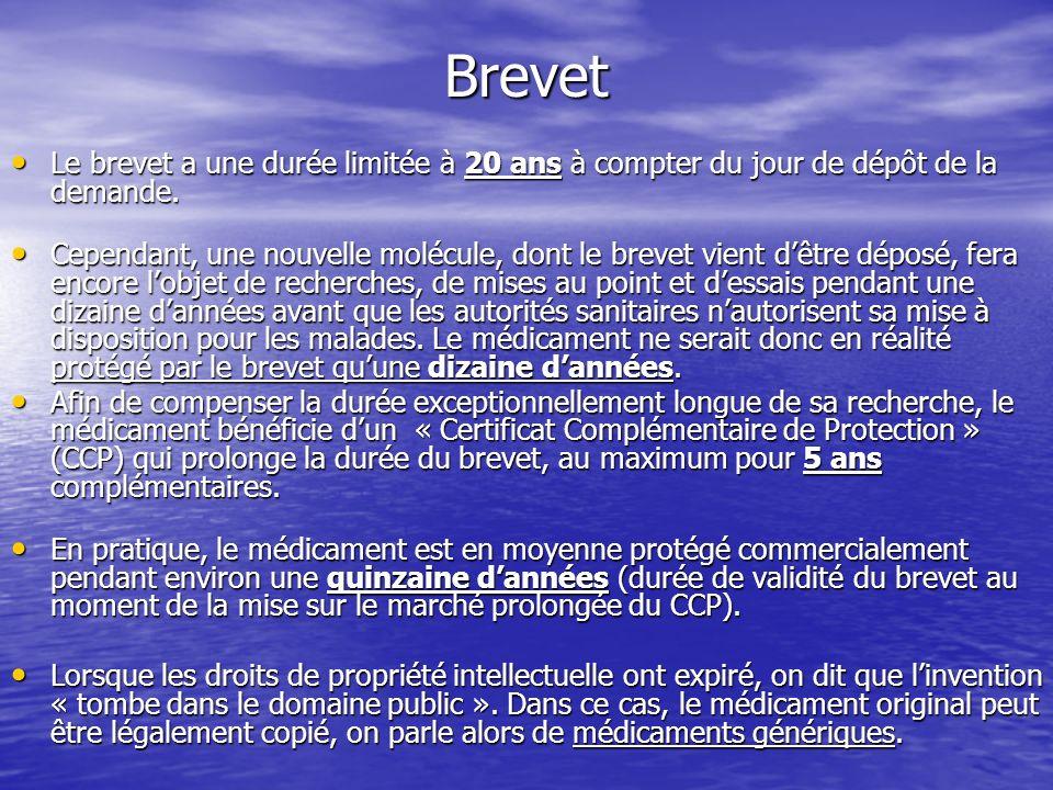 BrevetLe brevet a une durée limitée à 20 ans à compter du jour de dépôt de la demande.