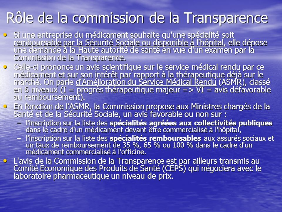 Rôle de la commission de la Transparence