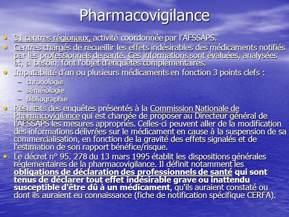 Pharmacovigilance 31 centres régionaux, activité coordonnée par l'AFSSAPS.