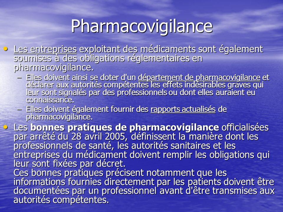 Pharmacovigilance Les entreprises exploitant des médicaments sont également soumises à des obligations réglementaires en pharmacovigilance.