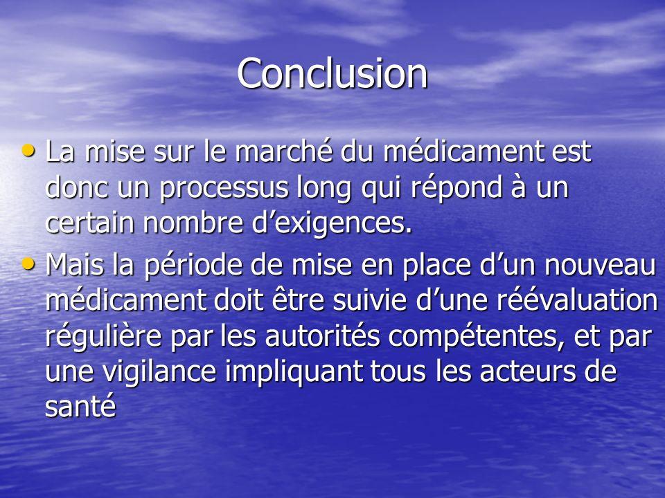 Conclusion La mise sur le marché du médicament est donc un processus long qui répond à un certain nombre d'exigences.