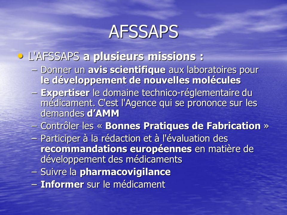AFSSAPS L AFSSAPS a plusieurs missions :