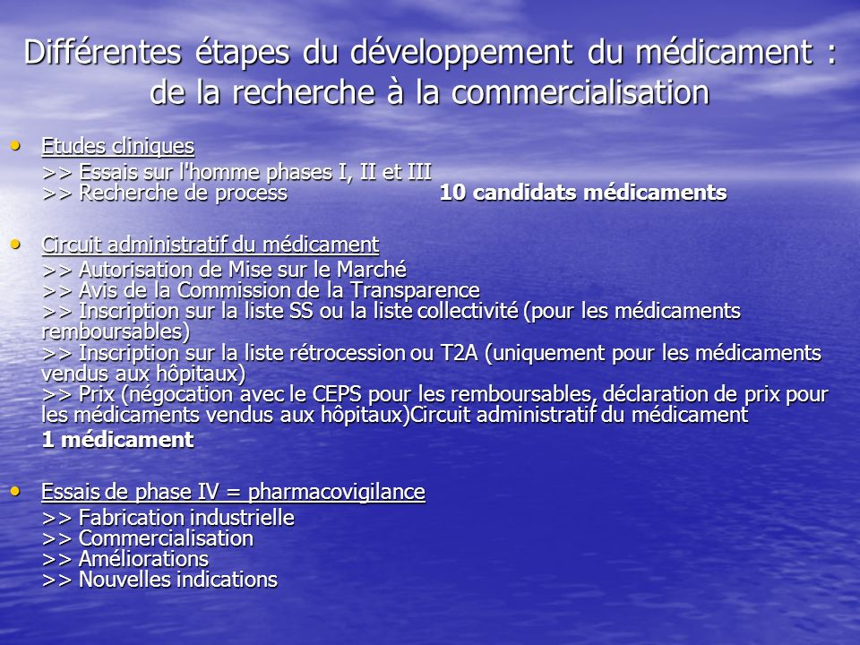 Différentes étapes du développement du médicament : de la recherche à la commercialisation