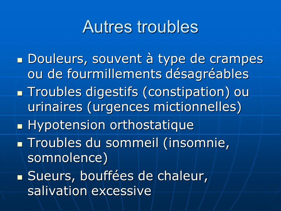 Autres troubles Douleurs, souvent à type de crampes ou de fourmillements désagréables