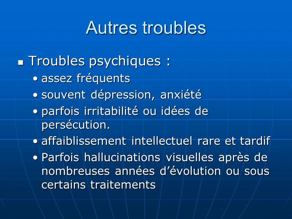 Autres troubles Troubles psychiques : assez fréquents