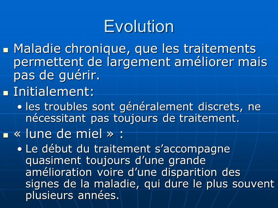 Evolution Maladie chronique, que les traitements permettent de largement améliorer mais pas de guérir.