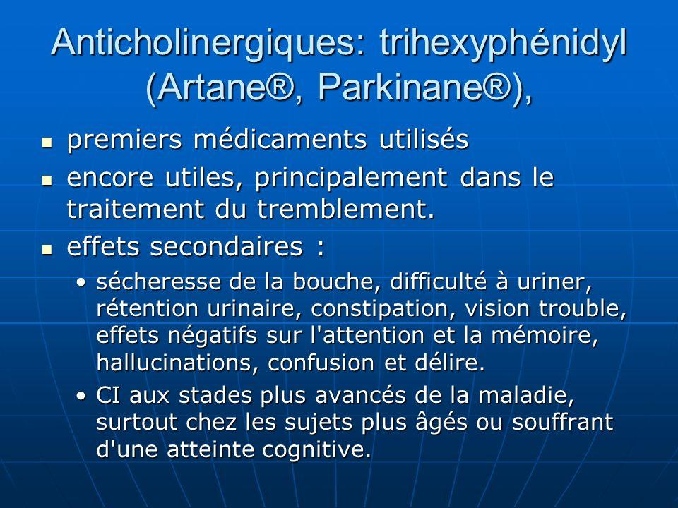 Anticholinergiques: trihexyphénidyl (Artane®, Parkinane®),