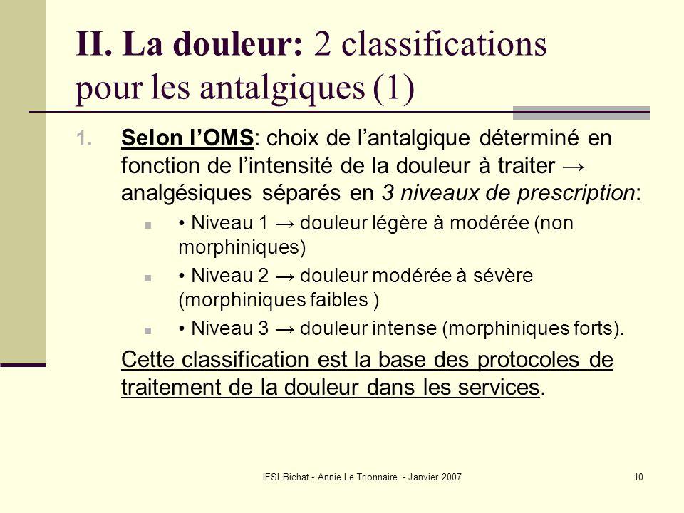 II. La douleur: 2 classifications pour les antalgiques (1)