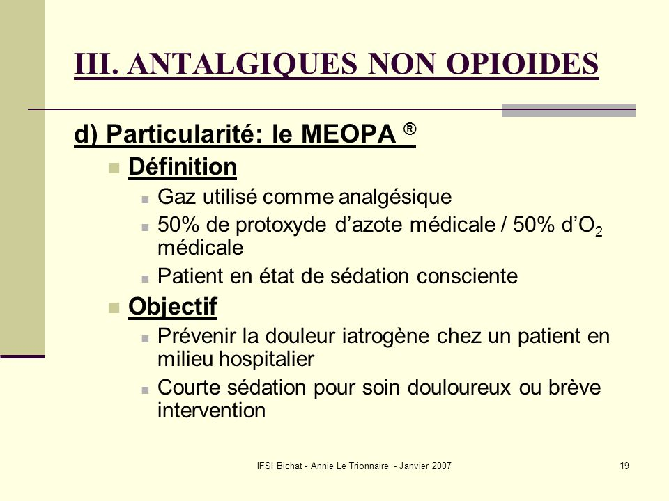 III. ANTALGIQUES NON OPIOIDES