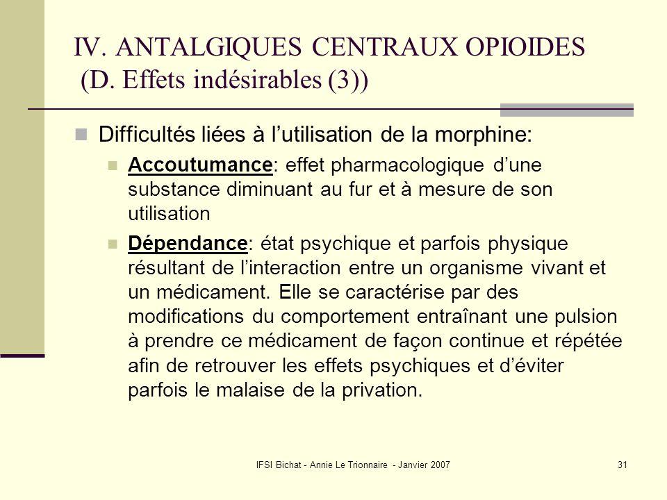 IV. ANTALGIQUES CENTRAUX OPIOIDES (D. Effets indésirables (3))