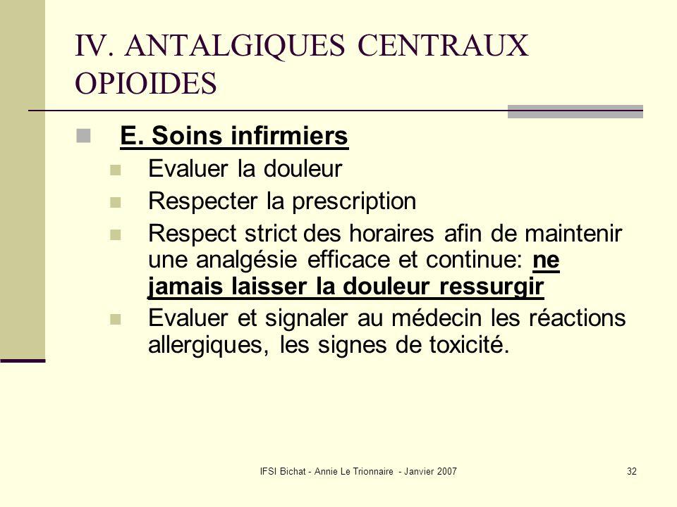 IV. ANTALGIQUES CENTRAUX OPIOIDES