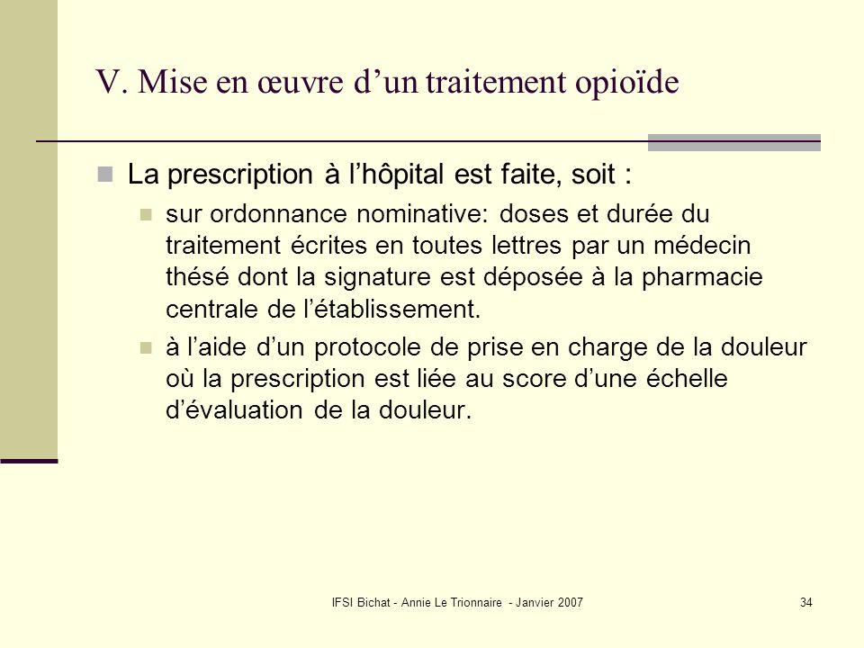 V. Mise en œuvre d'un traitement opioïde