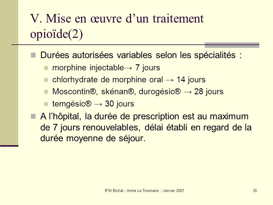 V. Mise en œuvre d'un traitement opioïde(2)