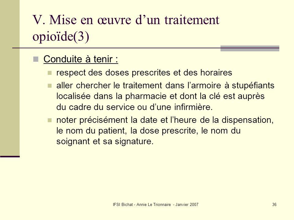V. Mise en œuvre d'un traitement opioïde(3)