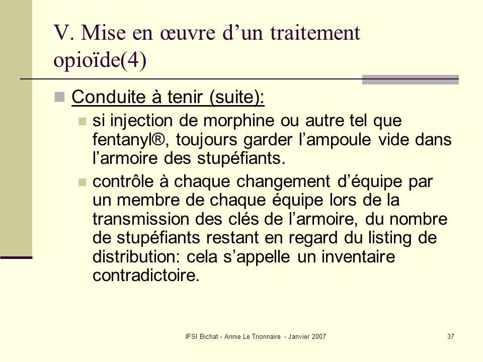 V. Mise en œuvre d'un traitement opioïde(4)