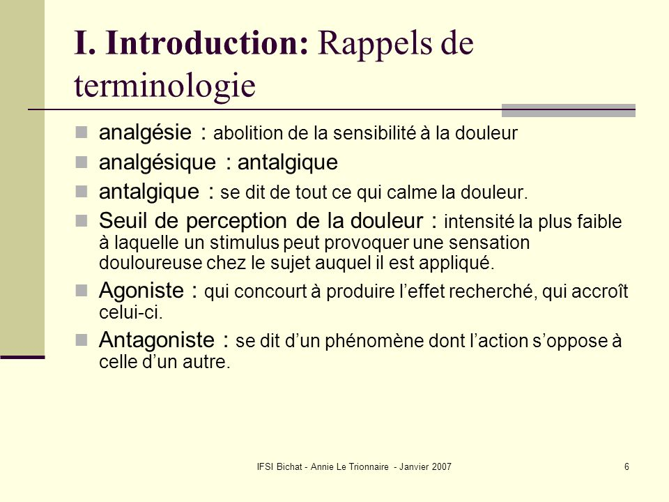 I. Introduction: Rappels de terminologie