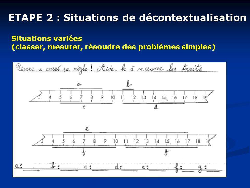 ETAPE 2 : Situations de décontextualisation