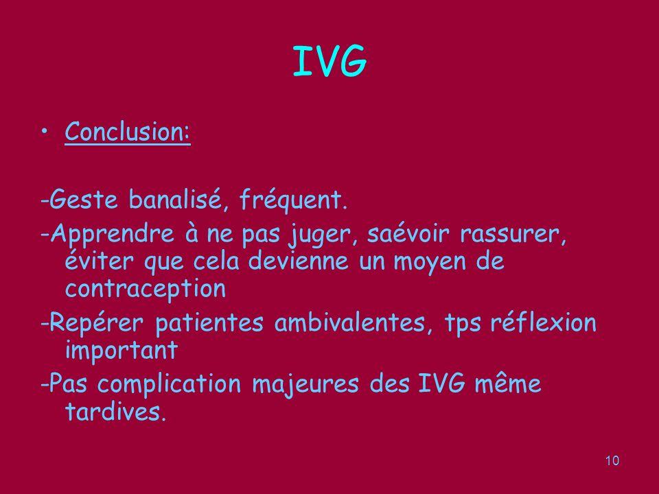 IVG Conclusion: -Geste banalisé, fréquent.