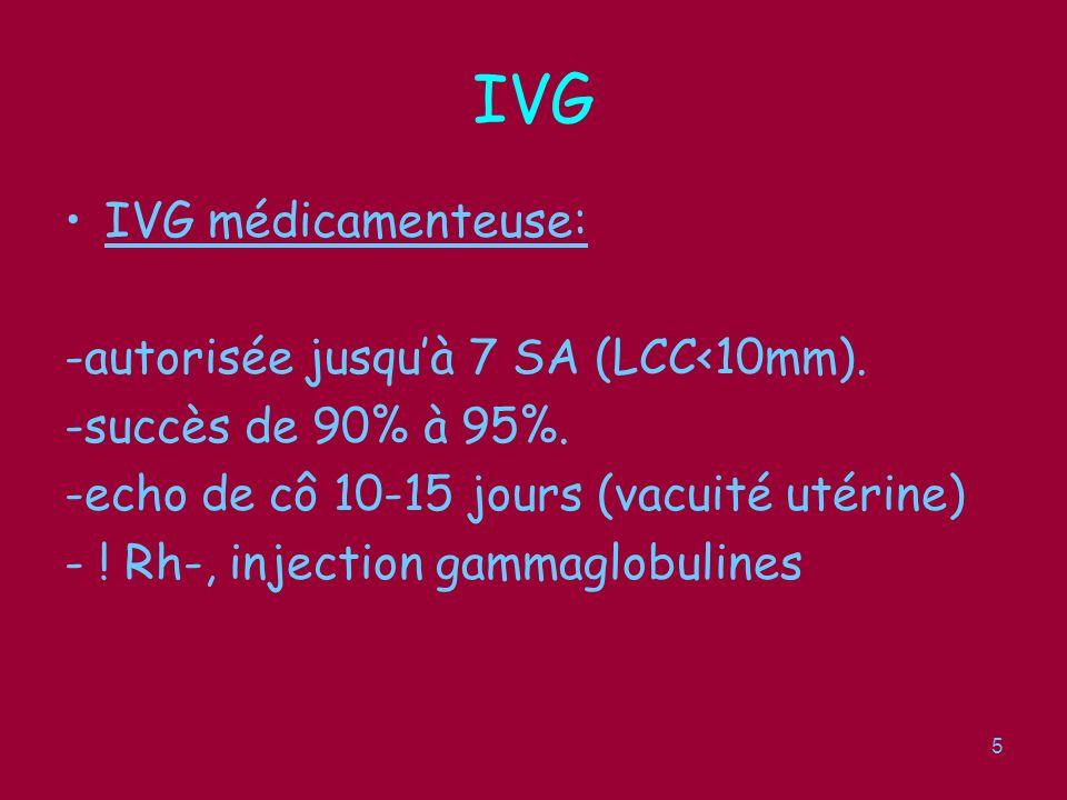 IVG IVG médicamenteuse: -autorisée jusqu'à 7 SA (LCC<10mm).
