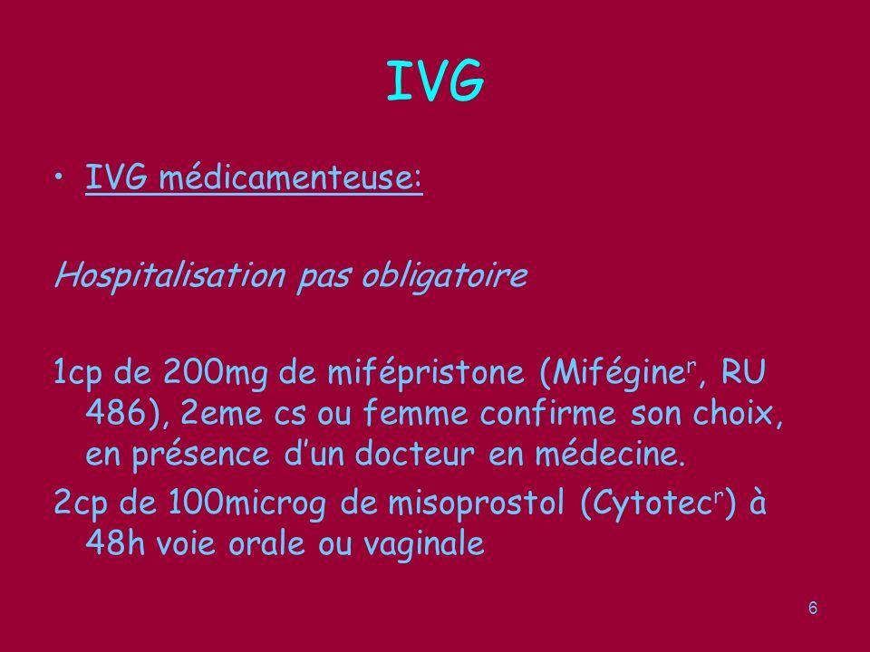 IVG IVG médicamenteuse: Hospitalisation pas obligatoire