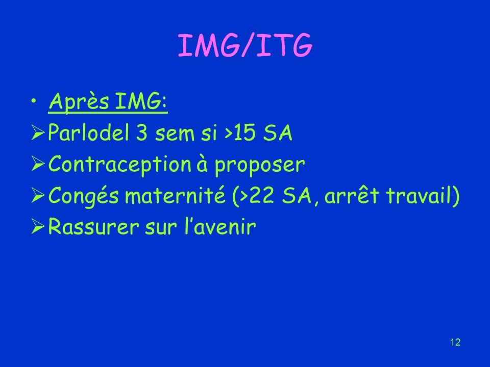 IMG/ITG Après IMG: Parlodel 3 sem si >15 SA