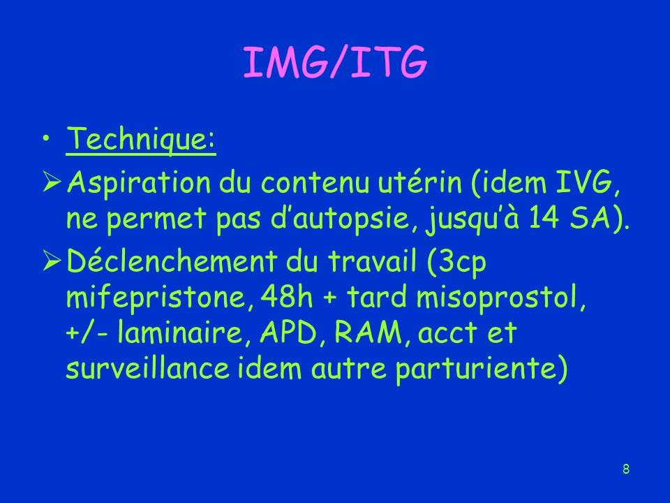 IMG/ITG Technique: Aspiration du contenu utérin (idem IVG, ne permet pas d'autopsie, jusqu'à 14 SA).