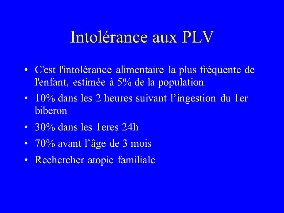 Intolérance aux PLV C est l intolérance alimentaire la plus fréquente de l enfant, estimée à 5% de la population.