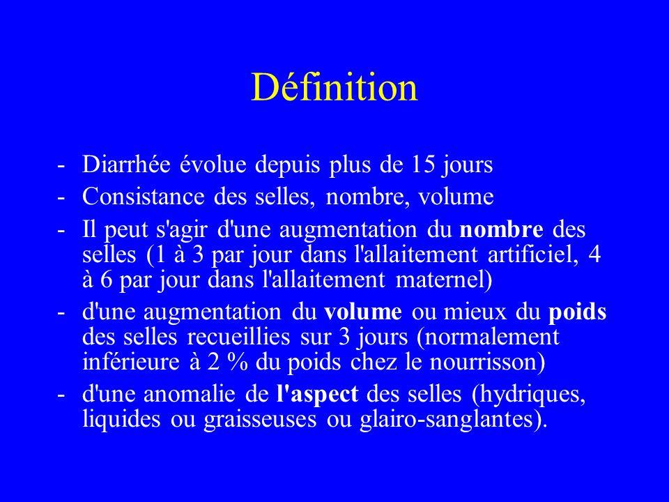 Définition Diarrhée évolue depuis plus de 15 jours
