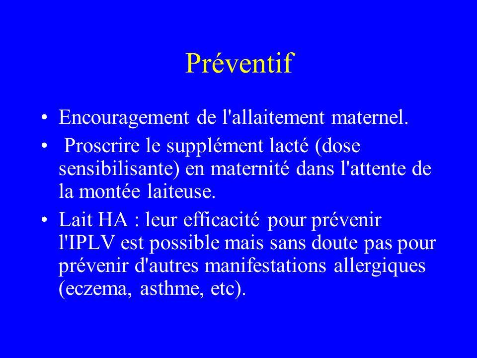 Préventif Encouragement de l allaitement maternel.