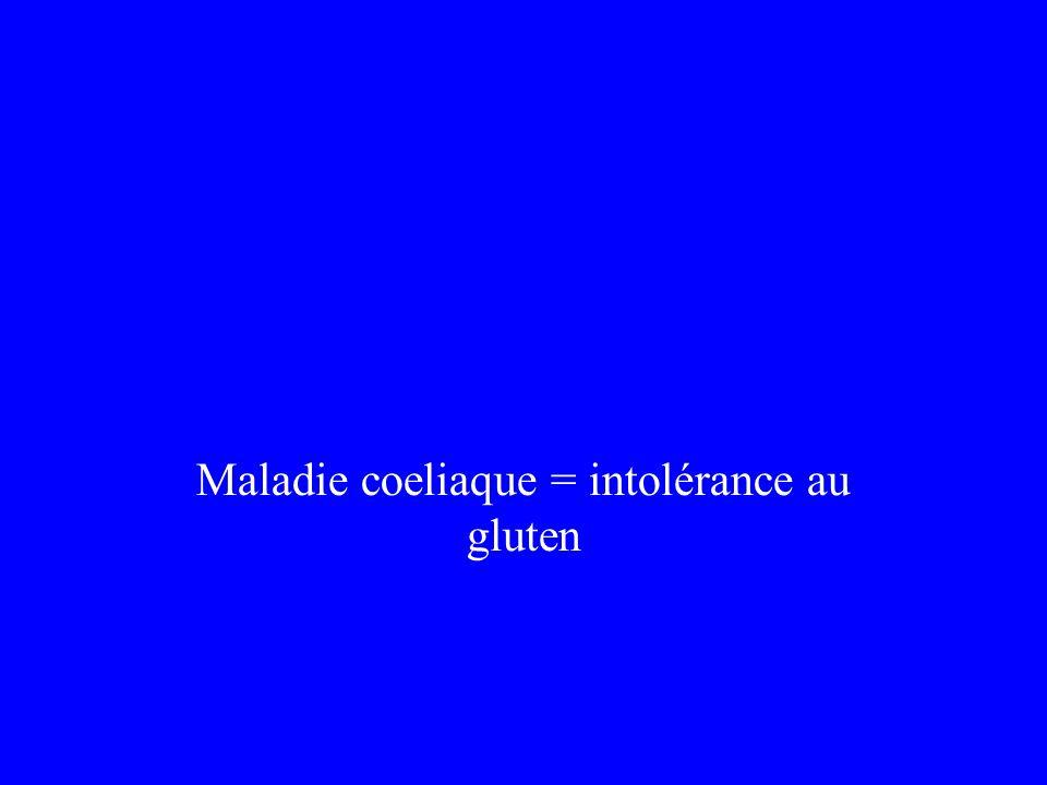 Maladie coeliaque = intolérance au gluten