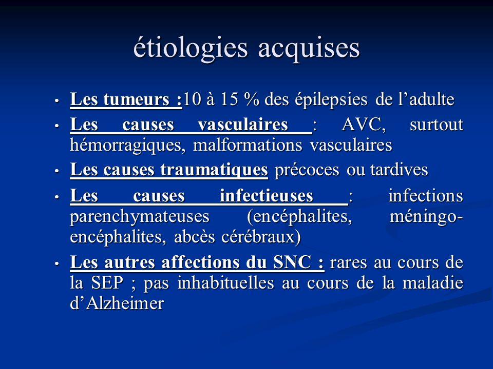 étiologies acquises Les tumeurs :10 à 15 % des épilepsies de l'adulte
