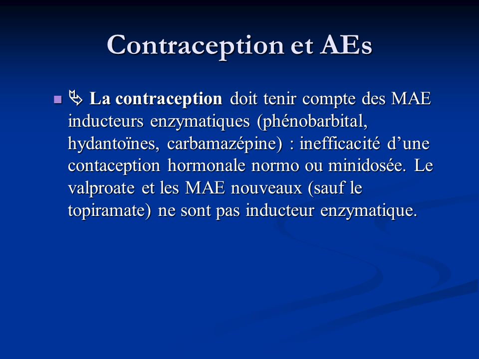 Contraception et AEs