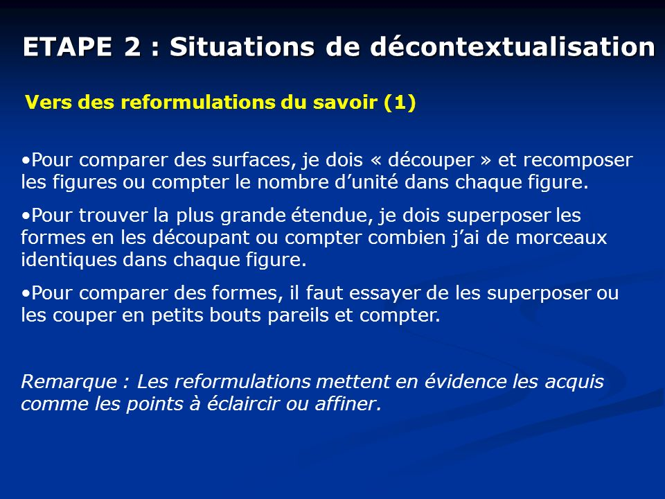 ETAPE 2 : Situations de décontextualisation