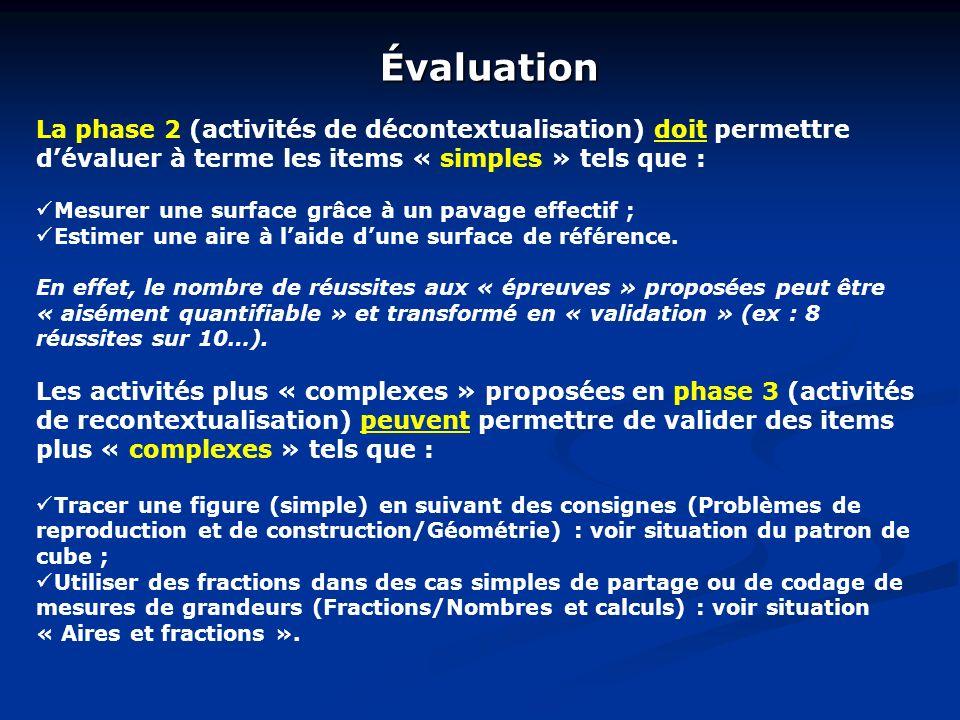 Évaluation La phase 2 (activités de décontextualisation) doit permettre d'évaluer à terme les items « simples » tels que :