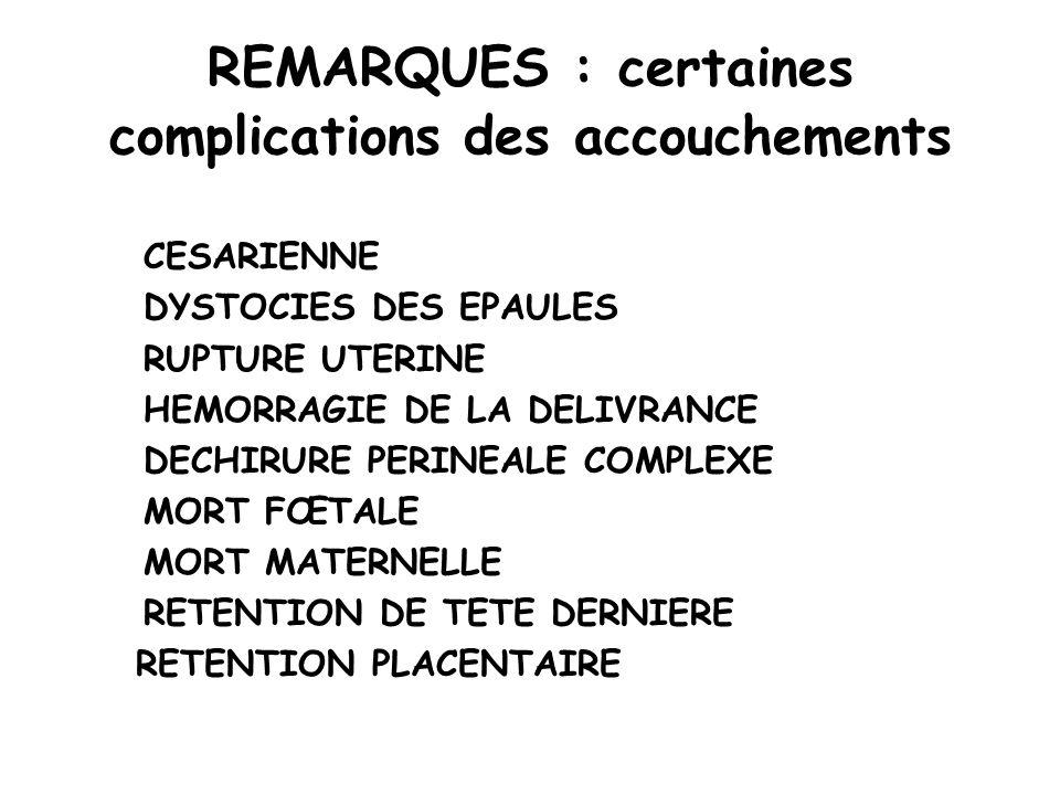 REMARQUES : certaines complications des accouchements