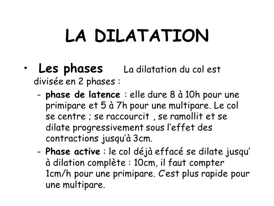 LA DILATATION Les phases La dilatation du col est divisée en 2 phases :