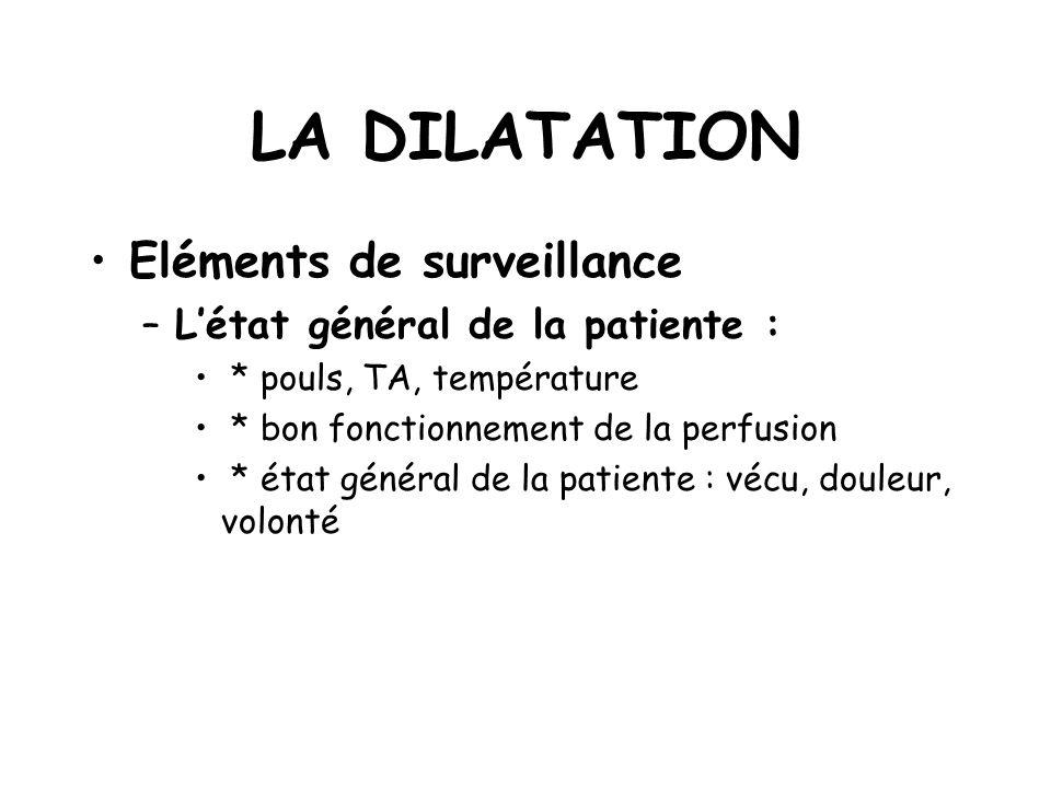 LA DILATATION Eléments de surveillance L'état général de la patiente :