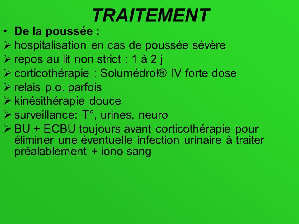 TRAITEMENT De la poussée : hospitalisation en cas de poussée sévère