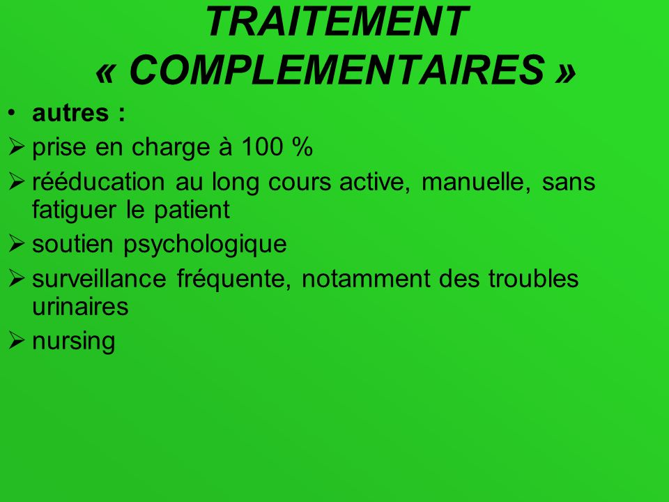 TRAITEMENT « COMPLEMENTAIRES »