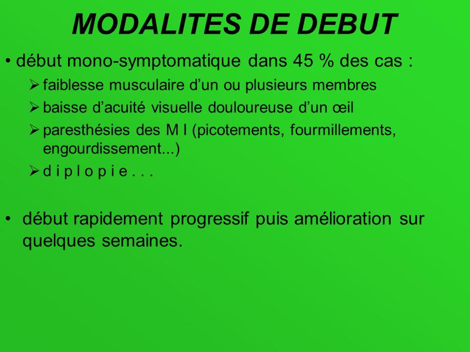 MODALITES DE DEBUT • début mono-symptomatique dans 45 % des cas :