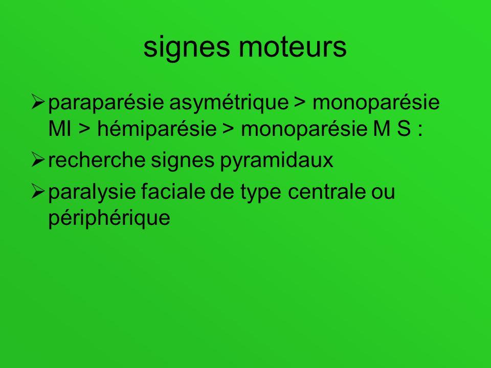 signes moteurs paraparésie asymétrique > monoparésie MI > hémiparésie > monoparésie M S : recherche signes pyramidaux.